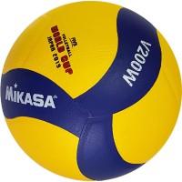Мяч волейбольный MIKASA вес 260-280гр, №5, клеяный, желто-синий дизайн, матчевый V200W(2019) реплика