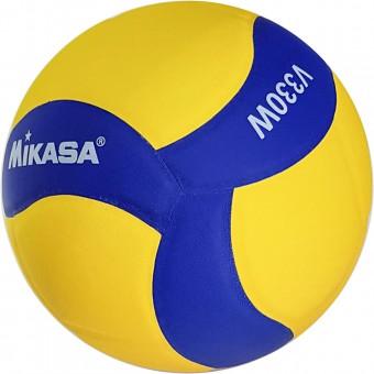 Мяч волейбольный MiKASA вес 260-280гр, №5, клеяный, желто-синий дизайн, матчевый V330W реплика