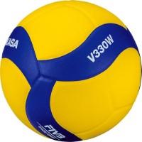 """Мяч волейбольный """"MIKASA V330W"""", р.5, синт.кожа (ПУ), 18 пан., оф. парам. FIVB,клееный, бут.кам, желто-синий"""