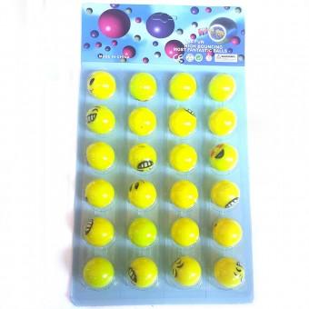 Мяч попрыгун на картоне (24 шт/уп) 32-Т3 (Смайлик)