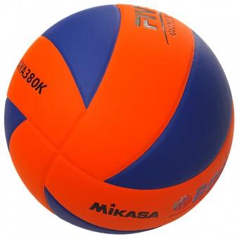 """Мяч волейбольный """"Mikasa MVA380K-OBL"""", р 5, синт.кожа (ПВХ), 8 пан, клееный, сине-оранжевый"""