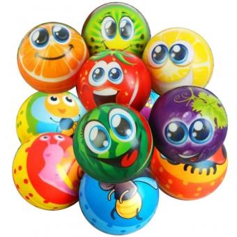 Мяч детский (порист. резина) 80 мм с рисунком (12 шт/уп)