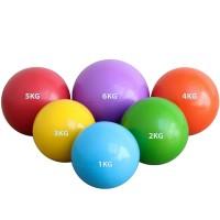 Мяч набивной 1,0 кг d-12см. (голубой) (ПВХ/песок)