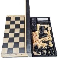 Игра 3 в1 (Шахматы гроссейстерские 40/40 + шашки+домино) доска дерево+пластик -03-043