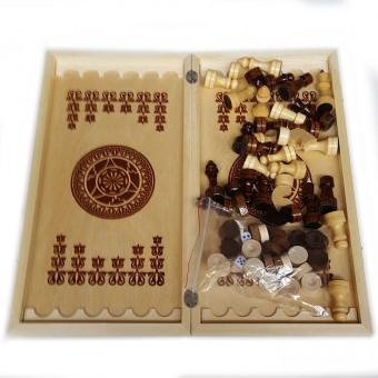 "Игра ""3 в 1"" дерево большая (нарды, шахматы, шашки ) 400х200х36"
