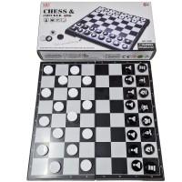 """Игра """"2 в 1"""" магнитная пластиковая (шахматы+шашки) размер поля 30х30см (G06)"""