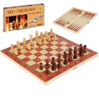 """Игра """"3 в 1"""" (шахматы, шашки, нарды) W001М дерево"""