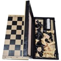 Игра 2 в1 (Шахматы гроссейстерские 40/40 + шашки) доска дерево+пластик -03-042