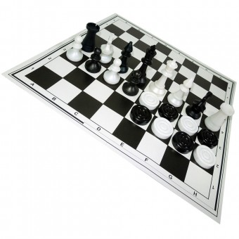 Шахматы обиходные пластиковые = шашки с шахматным полем (картон) в пакете с европодвесом 02-26