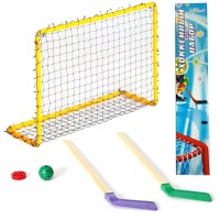 Набор детск. хоккея в коробке (ворота+ 2 клюшки + шайба+мяч) пластик
