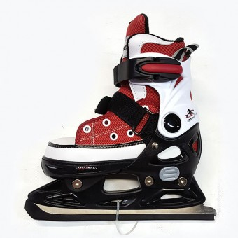 Коньки хоккейные раздвижные PW-223B-26 (кеды; мягкий ботинок-морозоустойчивый нейлон, подкладка-мягкая, основание-ударопрочный полипропилен) рр. 29-32, 33-36 RED