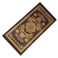 Нарды малые черные рисунок-золото с деревянными фишками (М)