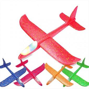 Самолет планер со светом 6 цветов 48Х46см В3303