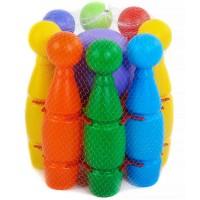 Кегли цветные в сетке (8+1мяч 14см в держателе) PL3357