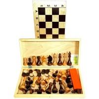 """Игра """"3 в 1"""" дерево большая (домино, шахматы, шашки ) 400х200х36 (02-70)"""