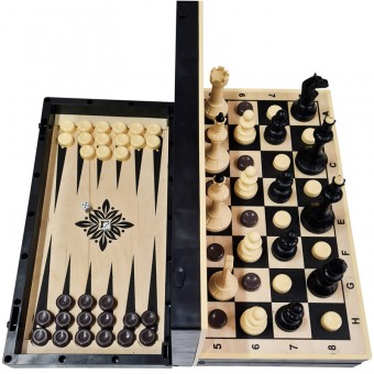 Игра 3в1 (шахматы, шашки, нарды), доска дерево+пластик (40/40 см) 03-052
