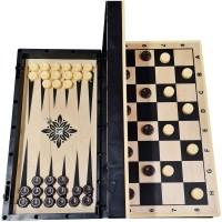 Игра 2в1 (шашки, нарды), доска дерево+пластик (40/40 см) 03-051