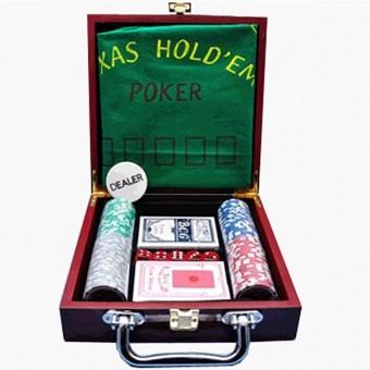 """Игра настольная """"Казино"""" в деревянном кейсе. В набор входит 100 фишек, фишка дилера, сукно, 2 колоды карт, 5 зариков"""