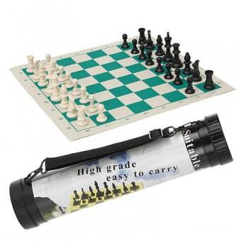 Шахматы в тубе средние (доска-винил + фигуры-пластик) F04455