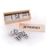 Домино среднее в деревянной коробке