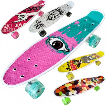 Скейтборд (пенниборд) пластик с принтом ассорти 55х15 см (33749)