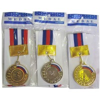 Медаль 1,2,3 место большая (3шт/уп) с флагом 6,5см