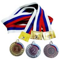 Медаль 1,2,3 место средняя (3 шт/уп) 5 см с флагом