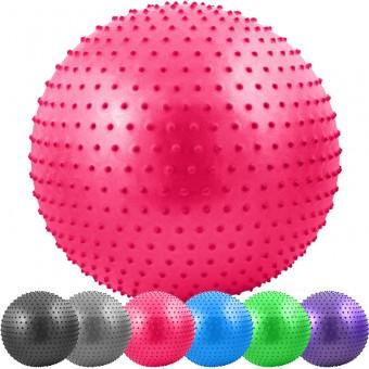 Мяч д/фитнеса 65 см массаж Anti-Burst 1000 гр в пакете