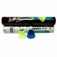 Волан пластик (12шт)цветные в ассорт.нейлоновые с пробковой головкой, AMS-268(6000)