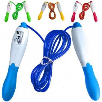 Скакалка со счетчиком 2,8 м. Большие пластиковые ручки, металлический трос в цветной полимерной оплетке R18152