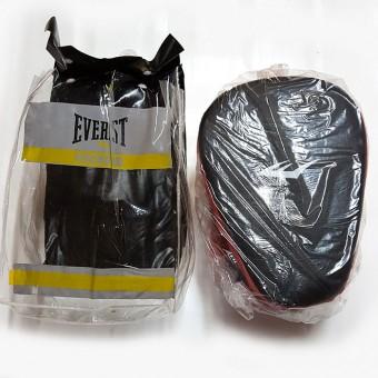 Лапа боксерская кожанная (812, 809) trainer, knoka, лапа Everlast, нат.кожа, фиксатор рук,(Пакистан) пара PD846