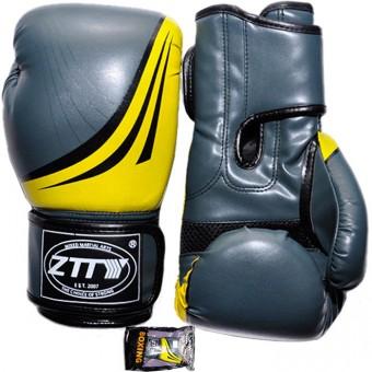 Перчатки бокс PU литой вкладыш (6;8унц) (серо-красн, серо-желт, серые) ZTQ 200