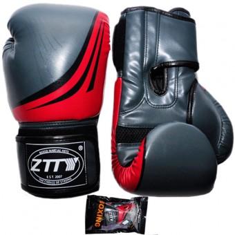 Перчатки бокс PU литой вкладыш (10,12,14, унц) (серо-красн, серо-желт, серые) ZTQ 200