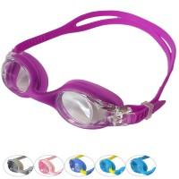 Очки для плавания одноцветные неоновые двойной ремешок 31579