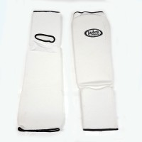 Защита голень-стопа (единоборства белая) XS S M L XL